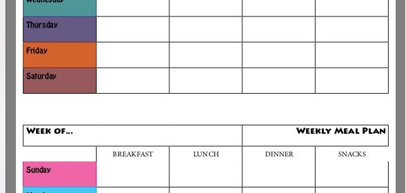 blank weekly meal plan chart - RunHoly.com