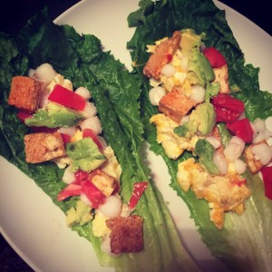 Plant based pregnancy - grilled tofu, egg, hominy lettuce wrap- RunHoly.com